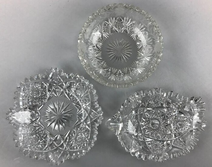 Lot of 3 : American Brilliant Period Cut Glass Dishes