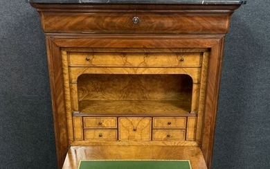 Louis Philippe Douce Secretary - Mahogany, Marble - First half 19th century