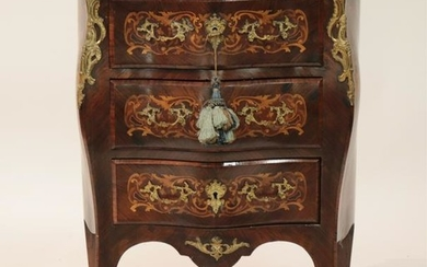 Louis XV Style Inlaid 3-Drawer Commode