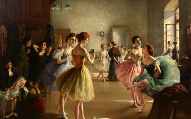 Luma von Flesch-Brunningen: A young dancer recieving a gift from an admirer. Signed L. v. Flesch-Brunningen. Oil on canvas. 108×143 cm.