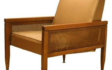 MID CENTURY MODERN CANED SIDE WALNUT CLUB CHAIR