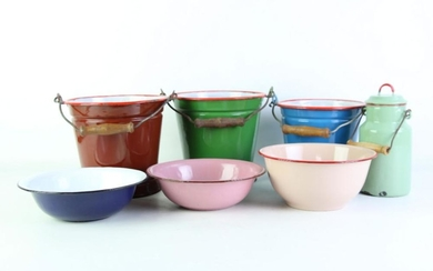 Mid Century Enamelled Buckets And Bowls