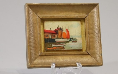 Miniature Oil Painting New England Fishing Boat, Wharf