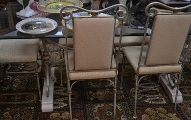 Modern glass table with 6 metalled framed chairs - stylish