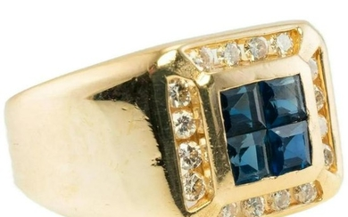 Natural Blue Sapphire Diamond Ring Mens 14K Gold