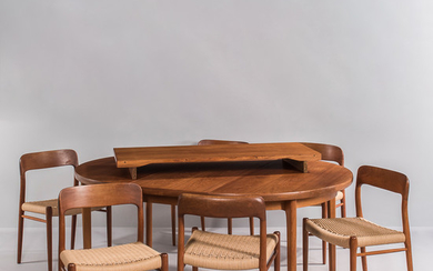 Niels Otto Moller for J.L. Moller Dining Table and Six Side Chairs