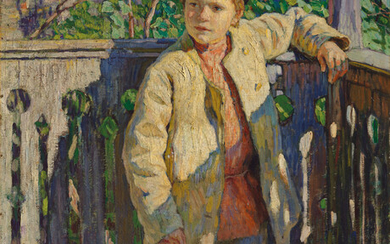 Nikolai Bogdanov-Belsky (1868-1945), Portrait of a young boy wearing a cap