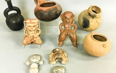 Nine Pre-Columbian Pottery Figures and Vessels