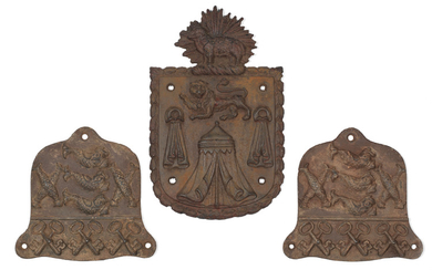 Of London livery company and guild interest: A pair of cast-iron plaques for the 'The Worshipful Company of Fishmongers', together with a larger cast-iron plaque for 'The Worshipful Company of Merchant Taylors'