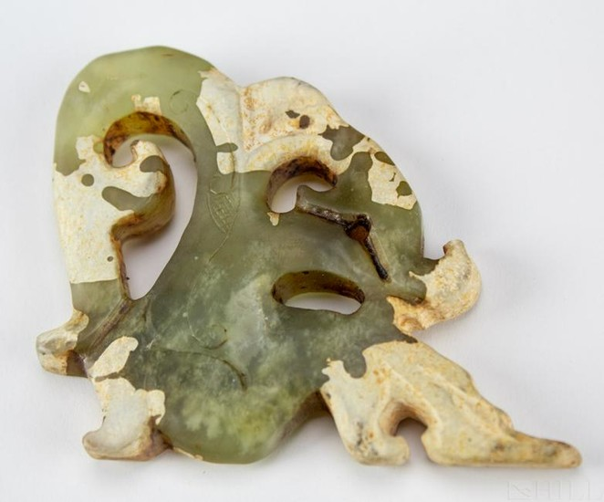 Old Carved Green Nephrite Jade Dragon Pendant