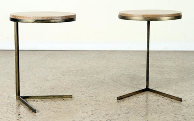 PAIR IRON END TABLES CANTILEVERED PARCHMENT TOP