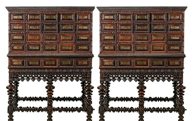 PAIR OF PORTUGUESE CABINETS ON STANDS