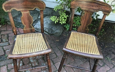 Pair Antique 19th C American Grain Painted Chairs