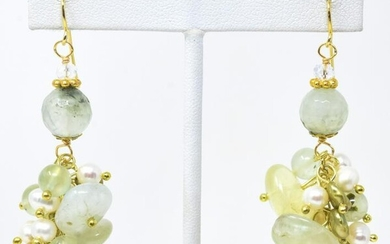 Pair of Baroque Pearl & Green Jade Earrings