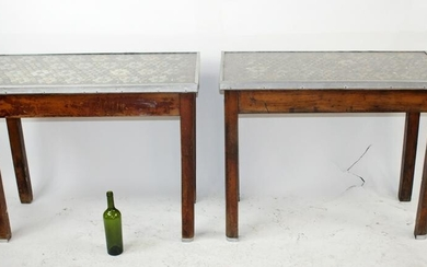 Pair of French café tables with bottle cap