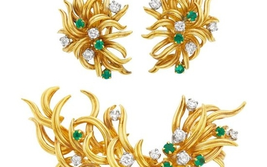 Pair of Gold, Emerald and Diamond Earclips and Brooch