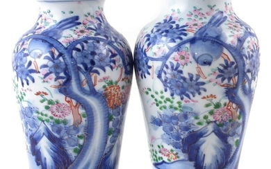 Pair of Japanese vases painted with birds