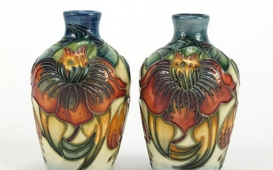 Pair of Moorcroft pottery vases hand painted with