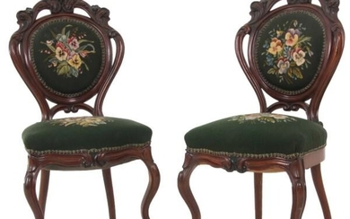 Pair of Pierced Carved Walnut Side Chairs