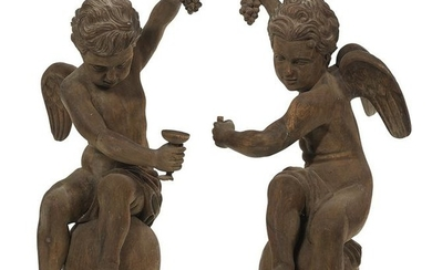 Pair of Stained Pine Figures of Cupids