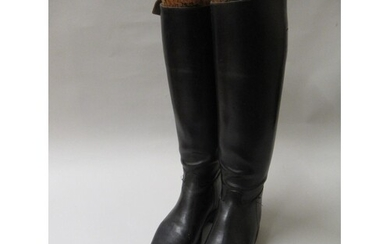 Pair of black leather riding boots with trees having gilt ri...