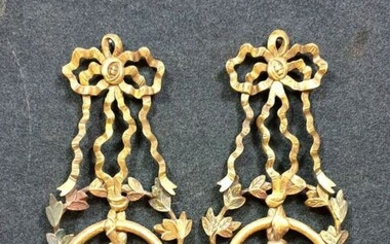 Pair of large wall lights - Louis XVI style - In gilded wood and polychrome - Circa 1900