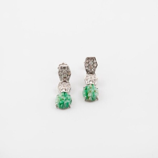 Pair of white gold (750) ear pendants formed of three articulated, hexagonal motifs, two paved with eight-eight-cut diamonds in grain-set, the third adorned with a carved and engraved green veined celadon jadeite plaque.