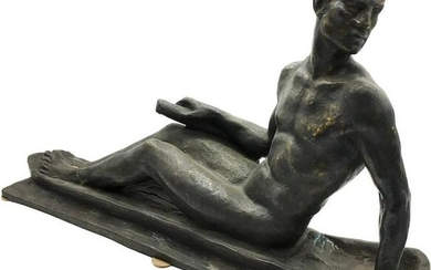 Patinated Bronze Figure of a Seated Man