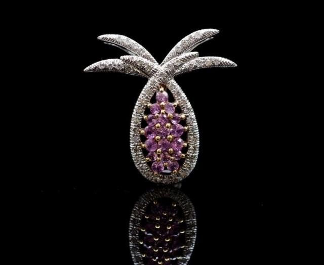 "Pink sapphire and diamond set ""pineapple"" pendant in 18ct wh..."