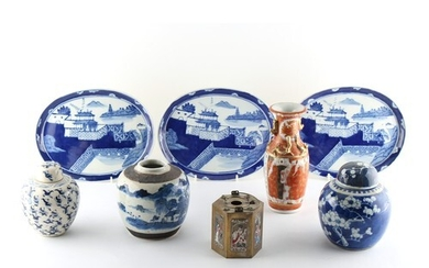 Property of a gentleman - three Chinese blue & white ovoid g...