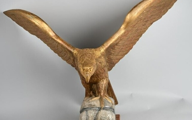 RARE 19th CENT. CARVED WOOD PILOT HOUSE EAGLE