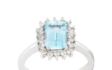 RING WITH TOPAZ AND DIAMONDS