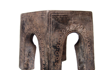 Rare Etruscan bucchero altar with incised decoration