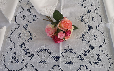 Rich tablecloth x12 (with 24 napkins) in pure linen with Intaglio and Punto Rica embroidery by hand - Linen - AFTER 2000