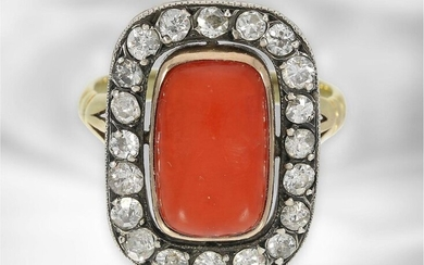 Ring: very interesting antique coral ring with old-cut...