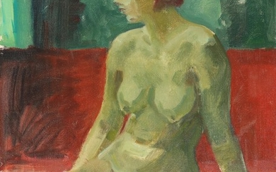 Robert Leepin: Sitting nude woman in green and red surroundings. Signed Rob. Leepin. Oil on canvas. 73×60 cm.