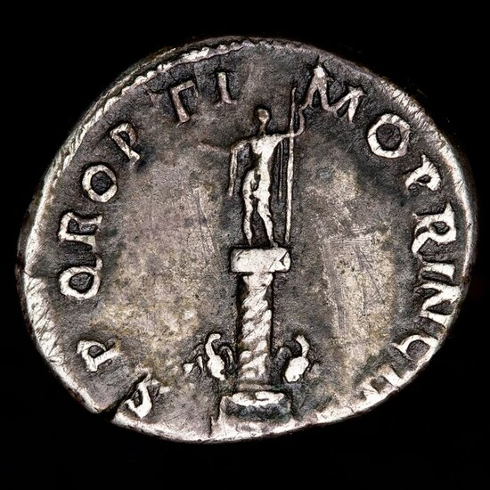 Roman Empire. Trajan (AD 98-117). AR Denarius,SPQR OPTIMO PRINCIPI, Trajan's column: statue of Trajan on top of the column, two eagles at base.