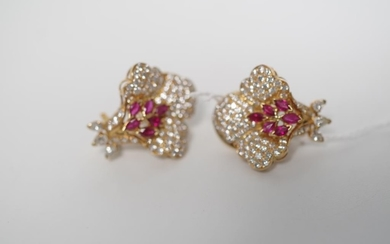Ruby, diamond and 18ct yellow gold earrings of Orchid flower...