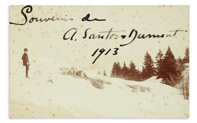 "SANTOS DUMONT, ALBERT. Photograph postcard Signed and Inscribed, ""Souvenir de / A. Santos Dumont / 1913,"""