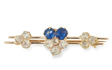SAPPHIRE AND DIAMOND BROOCH set with clusters of old