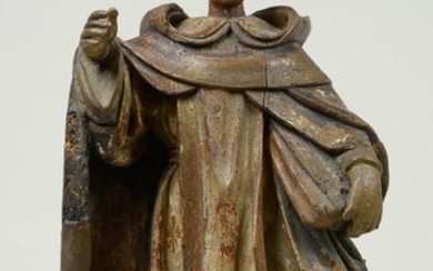 """""""Saint Anthony"""" in carved wood with traces of..."""