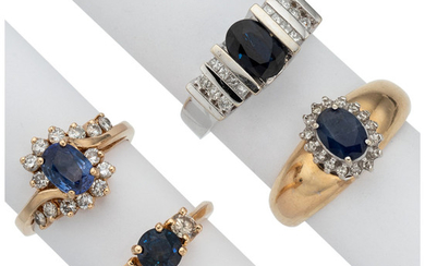 Sapphire, Diamond, Gold Rings The lot includes four rings...