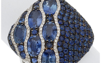Sapphire, Diamond, White Gold Ring The ring features round...