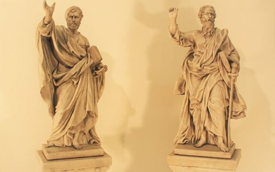 Sculpture, Large pair of religious sculptures, San Pietro and San Paolo - 70 cm - Marble - Mid 20th century