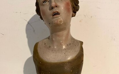 Scuola Napoletana - Figure, Sculpture, Sorrowful (1) - Folk Art - Glass, Wood - 18th century