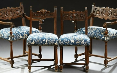 Set of Four French Henri II Style Carved Beech Dining