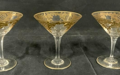 Set of Three Gilt Glasses