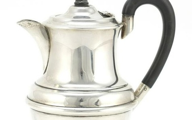 Silver hot water pot with ebonised handle and knop, AEJ