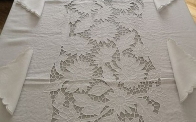 Spectacular !! pure linen tablecloth x 12 with hand embroidery - 175 x 270 cm - Linen - 21st century