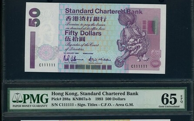 Standard Chartered Bank, $50, $500 and $1000, 1994 and 1993, with identical solid serial number...